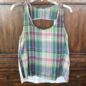 Charlotte Russe Plaid Top with Lace Back Sz Small